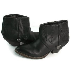 HTC Women's Black Fold Down Ankle Booties Sz EU 38